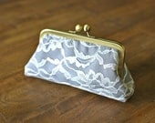 Ivory Lace Clutches with Charcoal Gray