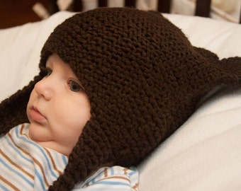 Chocolate Brown Teddy Bear Hat  3 - 9 month olds