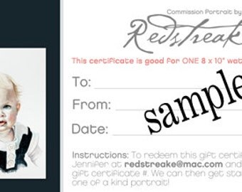 Gift certificate voucher - Good towards any size commission portrait! 250.00
