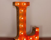 Vintage Marquee Light Rusted Home Decor 24 Inch Letter L - FREE SHIPPING