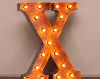 Vintage Marquee Light Rusted Home Decor 24 Inch Letter X - FREE SHIPPING
