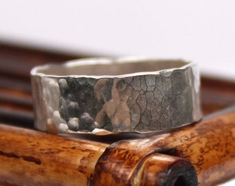 Broad Hammered Silver Ring Band - Handmade Ring