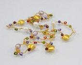 Multi colored gold chain necklace