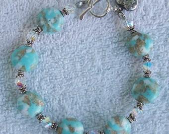 Magical Skies Sterling Silver Vintage 1930's Lucite Beads swarovski Crystals Bracelet