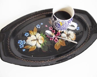 Vintage Tole Painted Tin Tray - Black Floral Hand Painted Oval Toleware