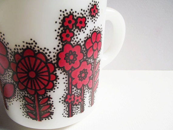 Vintage Milk Glass Mug - Red and White Flower Power