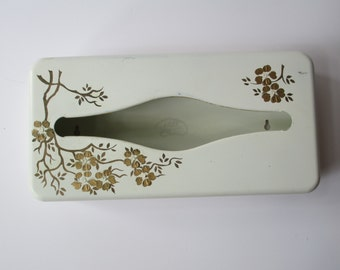 Vintage Ransburg Hand Painted Gold Cream Floral Metal Tissue Box