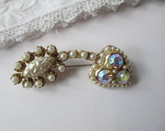 Lovely Vintage Faux Pearl Aurora Borealis Rhinestone Heart Brooch