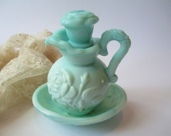 Avon Aqua Rose Miniature Pitcher Set - Vintage Sweet