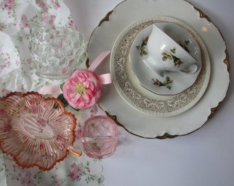 Vintage Garden Party Collection Pink Floral Set of Seven