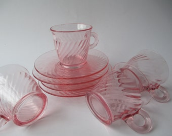 Pink Vintage Cups & Saucers Set of Four