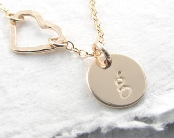 Captive Heart Initial Necklace Gold filled Initial Disc Hand Stamped Personalized