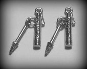 4 Silver Pewter Mascara with Wand Charms (qb88)