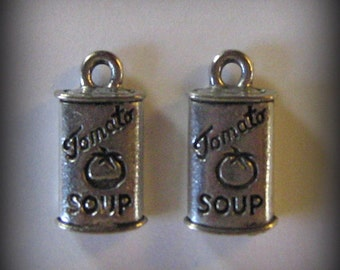 4 Silver Pewter Tomato Soup Can Charms (qb13)
