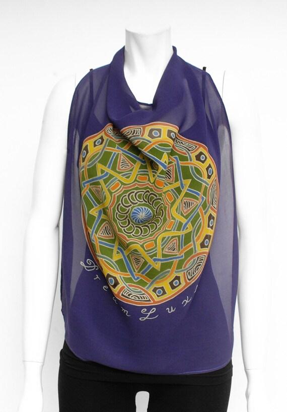 Silk Scarf Handpainted, Mandala scarf, Square Scarf, Hand made scarf, chiffon scarf, Silk neck scarf, Luxury scarf, Art to wear, Xmas gift