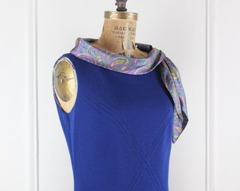 paisley shift, vintage 1960s super mod blue wool dress with flirty ascot - sz medium to large, m/l