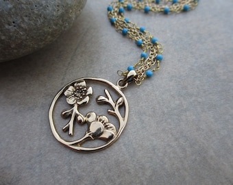 Flower Pendant Turquoise Necklace, Gold, Wire Wrapped, Multi Chain, Woodland, Irisjewelrydesign