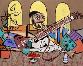 Man Playing A Sitar Print Poster India Smoking Music Anthony Falbo