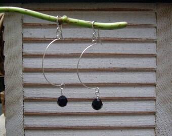small dangle half hoop earrings - black crystal