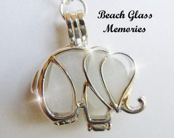 Eco Friendly White  Elephant  Sea Glass  Locket Beach Glass Jewelry Seaglass Necklace