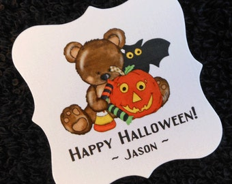 Personalized Halloween Party Favor Tags, teddy bear with pumpkin, bat and candy, set of 20