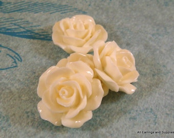 BOGO - 4 Cabochon Flower Bead Opaque Off White 17mm - No Holes - 4 pc - CA2029-WH4 - Buy 1, Get 1 Free - No coupon required