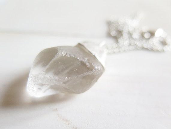 Quartz Crystal pendant. Sterling silver pendant with raw Quartz Crystal. Rough Quartz, natural Crystal, silver chain, Quartz necklace.