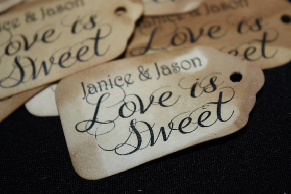 """Love is Sweet SMALL 2"""" Personalized Favor Tag Thank you Favor"""