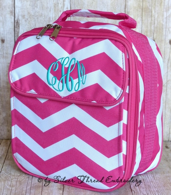 Girls Personalized Lunch Bag Chevron Hot Pink Monogrammed