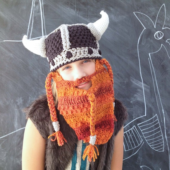 Crochet Dwarf Beard Hat Pattern : CROCHET PATTERN for Furry Dwarf Helmet