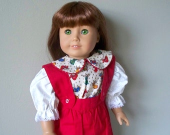 American Girl Doll Dress or 18 inch doll outfit Christmas Red Overalls