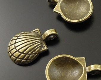 Bronze Sea Shell Charm-  lot of 6