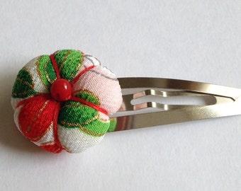 Ume (plum blossom) Snap Hair Clip - Kimono Fabric, Hair Accessory, Japanese Barrette, Flower, Kawaii, Handmade, Snap Clip, Hair Snap Clip