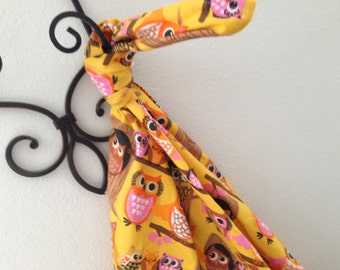 Mustard Hoot Owl Baby Blanket Flannel Swaddler