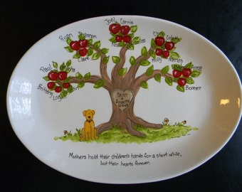 Large Personalized Family Tree Platter - Handpainted 13 Inch Oval Family Platter - Personalized - Great Gift