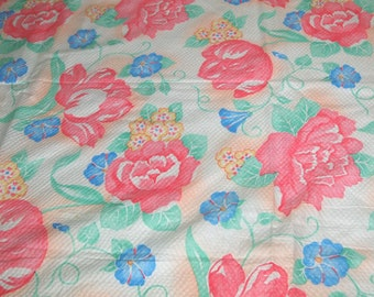SALE vintage 80s cotton plisse fabric featuring large scale floral print, 1 yard, 7 inches EXTRA WIDE