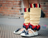 Ruffle Leg Warmers - beige, red, charcoal gray - TheCrochetSisters