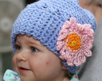 Hand Crocheted Hat Baby Light Periwinkle Pink Flower Free Shipping in the US