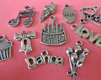 10 Birthday Party Charm Collection
