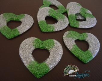LARGE Green and Silver Glitter Heart Love Pendants, Acrylic, Glitter - 4x