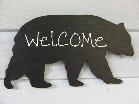 Rustic Black Bear Wall Hanging Wood Cabin Northwoods Yard Lodge Child's Room Photo Prop Nursery