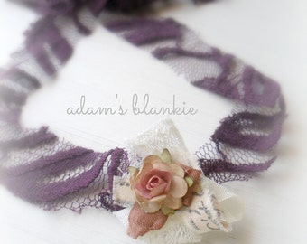 Fennel - Open Halo Headband Wrap Tie Back - Purple Plum Pink Rosette - Cream Lace - Newborn Baby Girl Infant Adults - Photo Prop