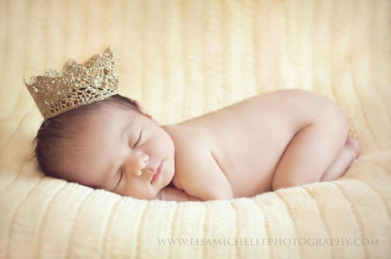 Vintage Inspired Shimmery Gold Crown - Baby Infant Newborn - Photo Prop - Boy or Girl
