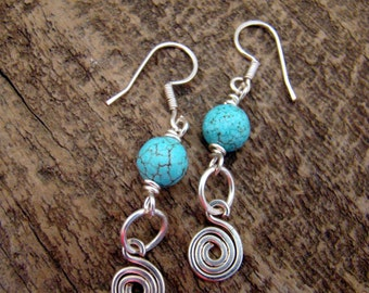 SALE Handmade Wire Wrapped Turquoise Earrings               1.99 Shipping USA