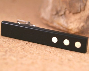 Tie Clip: African Ebony wooden tie bar with Brass Accents
