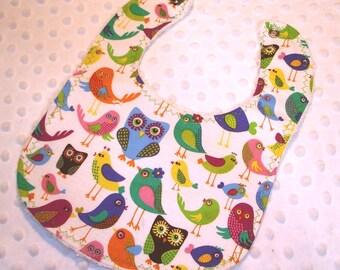 Owls and Bird Friends Designer Baby Bib - Clearance