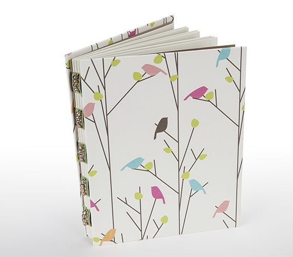 Handmade journal, birds and trees, multicolor, gift under 15