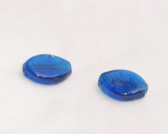 beads, blue, glass, large, 2 each, F, destash