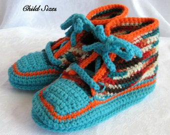 Converse style CHILD sneaker slippers Crochet pattern,  PDF pattern digital download, high tops