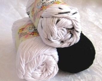 100% cotton yarn, ZEBRA color story, black white, creme de la Creme cotton yarn